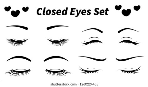 Beautiful closed eyes collection. Hand drawn eyes and brows. Vector illustration of eyes for beauty salon. Can be used for fashion. Isolated on white background icon, or logo design.