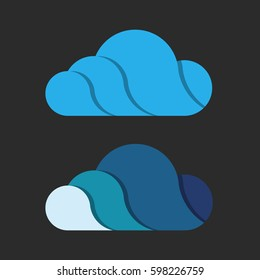 Beautiful cloud design with shade. Two color scheme. Volume logo, 3D.