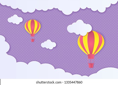 Beautiful clouds and air balloons! Abstract paper art 3D vector illustration on purple background.