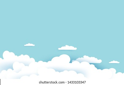 Beautiful clouds on pastel blue sky background. Soft and clean background design in EPS10 vector illustration.
