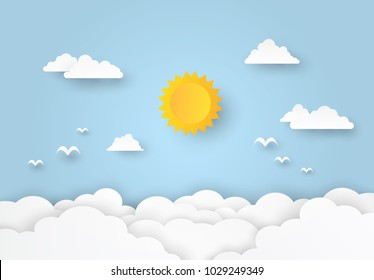 Beautiful Cloudscape, clouds and sun on blue background, paper art style. Vector illustration