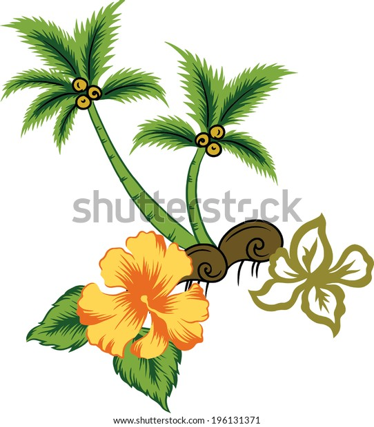 beautiful coconut trees and beautiful flowers.