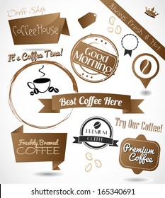 A beautiful collection of a coffee badges, stamps, emblems and banners vector