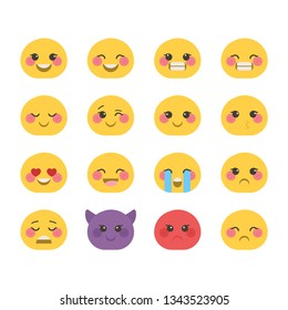 Beautiful collection of decorative oval emoticons. Vector illustration.