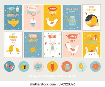 Beautiful collection of Easter greeting cards, gift tags, stickers and labels templates in vector. Holiday spring and summer cartoon concept with bunny, eggs, chicks and other graphic design elements.