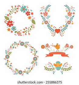 Beautiful collection of floral Easter wreaths. Vector illustration