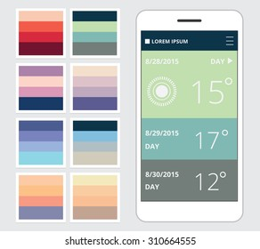 Beautiful color combinations sets for mobile and web application user interface designs