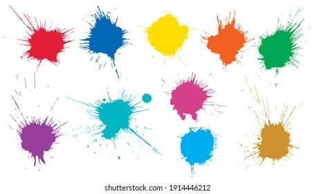 Beautiful color paint blots, splashes. Set of art elements. Vector illustration.