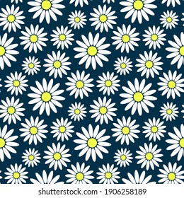 Beautiful colored chamomile flowers isolated on blue background. Cute floral seamless pattern. Vector flat graphic illustration. Texture.