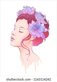 beautiful colored illustration vector imitation watercolor