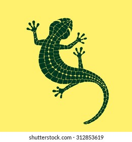 Beautiful colored lizard isolated on yellow background, stylized of Mosaic. Gecko.