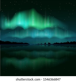 Beautiful colored northern lights, realistic aurora borealis, vector illustration. Night sky and amazing polar lights for poster, banner etc.
