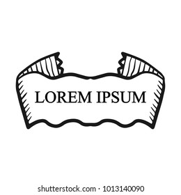 Beautiful colored ribbon. Realistic Ribbon with inscription: Lorem ipsum