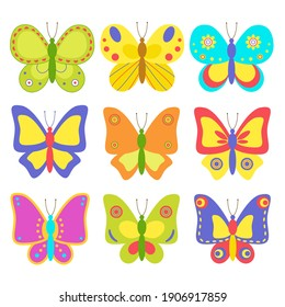 Beautiful colorful butterflies, set, isolated on white background. Happy Easter. Cute cartoon butterflies, for children's room design, postcards, banners, textile packaging. Vector illustration