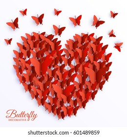 beautiful colorful butterfly heart on valintines day background concept. Vector illustration design