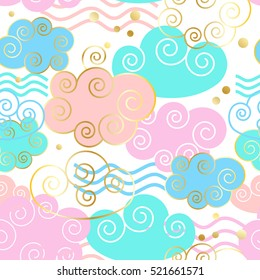 Beautiful colorful clouds seamless pattern with golden texture. Seamless pattern