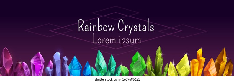 Beautiful colorful crystal banner. Ruby, emerald, sapphire, brilliant gemstones in the line. Purple, pink, red, yellow, green, blue gems  on dark background. Vector rainbow precious stones frame.