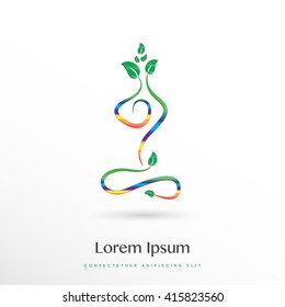 BEAUTIFUL COLORFUL ELEGANT SILHOUETTE IN YOGA POSITION , VECTOR LOGO / ICON