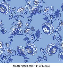 Beautiful colorful flowers in chinoiserie style. Vector illustration for greeting cards, wrapping paper, invitations, etc. Seamless pattern.