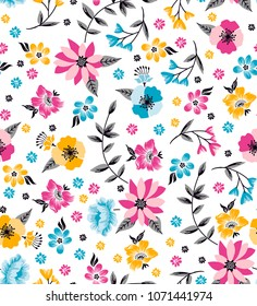 Beautiful Colorful Flowers daisies pattern with small elements for textile and wallpaper