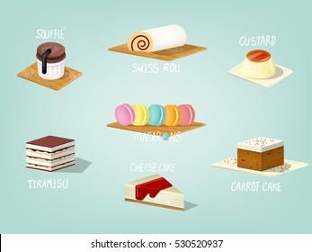beautiful colorful graphic design illustration of popular sweet bakery cake, carrot cake,souffle cake, custard cake, tiramisu, swiss roll , cheese cake and macarons