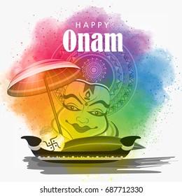Beautiful Colorful Grungy background with Kathakali face, Umbrella, Snake Boat etc. for the Festival Onam.