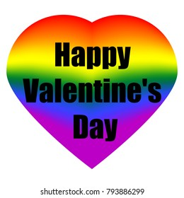Beautiful colorful heart in flowers of LGBT flag, vector illustration, inscription happy valentine's day