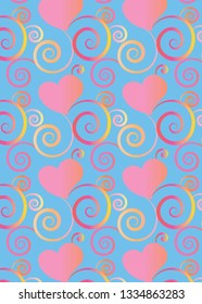 beautiful colorful hearts and flourish gradient pattern design with transparency for gift cards, greeting cards and celebration surface pattern designs, textiles, fabric, posters and wallpapers