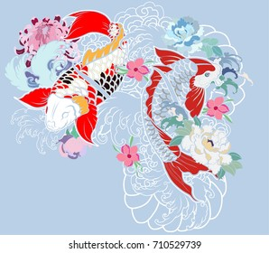 Beautiful, colorful Koi carp with water splash, lotus and peony flower. Traditional Japanese tattoo design.