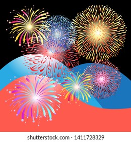 Beautiful colorful multicolored fireworks on the background of different mountains
