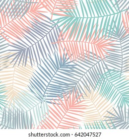 Beautiful and colorful pattern design featuring coral, blue, yellow and purple palm leaves on a light background. Vector stylish illustration with isolated elements.