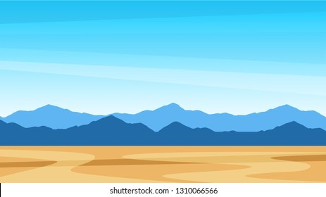 Beautiful colorful scenic landscape of southern United States, Texas with mountains and desert field, Vector travel background for with copy space and description of trip. Simple, stylish, tasteful.