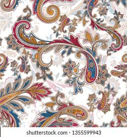 beautiful colorful seamless paisley pattern