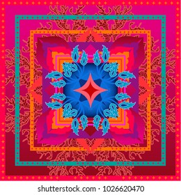 Beautiful colorful squared geometric pattern with Indian art motifs. Arabesque ornament and corals on red background. Oriental textile collection.