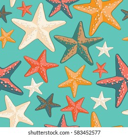 Beautiful colorful starfish seamless pattern. Vector illustration on turquoise background