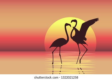 Beautiful colorful sunset scene with flamingo couple silhouettes. Vector illustration