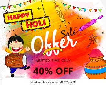 Beautiful and Colorful Vector Illustration based on Sale, Offer or Discount Banner, Poster or Flyer Design for the celebration of Hindu Festival Holi.