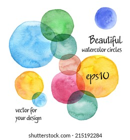beautiful colorful watercolor circles (with paper texture and brush) - isolated hand drawn backgrounds - vector illustration