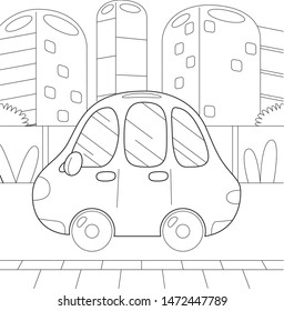 Beautiful coloring book for children with a transportation on a white background.