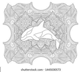 Beautiful coloring book page with orca silhouette on abstract linear background