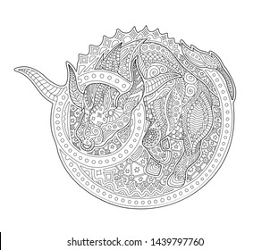Beautiful coloring book page with zodiac sign taurus on white background