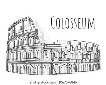 beautiful Colosseum hand drawn illustration vector on isolate background,landmark of Italy