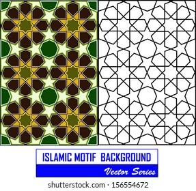 Beautiful and complex eight (8) point ancient islamic star geometric pattern ornament.