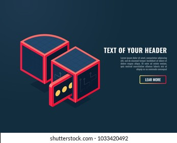 Beautiful concept of searching data,  request and response of the server, entering and outgoing message isometric vector illustration