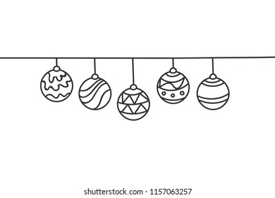 Beautiful continuous line Christmas balls design vector