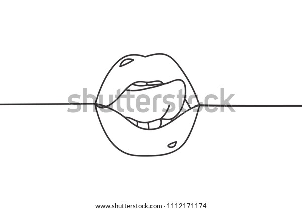 Beautiful Continuous Line Sexy Lips Art Stock Vector Royalty Free 1112171174