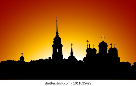 Beautiful contour of the Orthodox churches at sunset