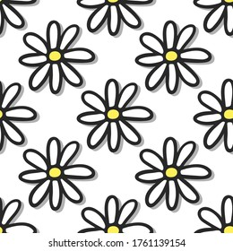 Beautiful contour white daisy flowers isolated on white background. Cute seamless pattern. Hand drawn vector flat graphic illustration. Texture.
