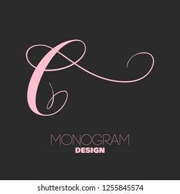 Beautiful copperplate letter C calligraphy monogram design