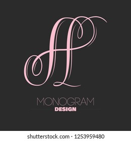 Beautiful copperplate letter A calligraphy monogram design